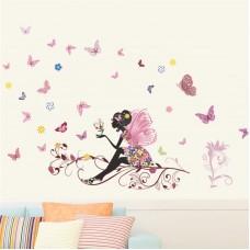 """Наклейка """"Цветочная фея с бабочками"""""""