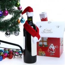 """Новогоднее украшение для бутылок """"Шапка и шарф Санта-Клауса"""""""
