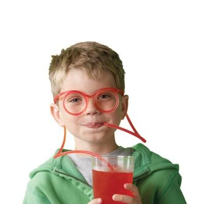 Очки-трубочка для напитков цветная - оригинальная гибкая соломинка