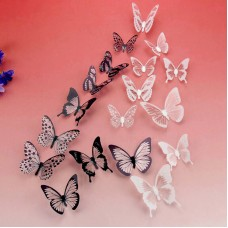 Наклейки 3Д бабочки (черно-белые)
